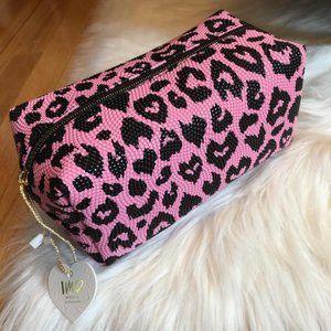 Imoshion Pink Animal Print Textured Cosmetic Bag